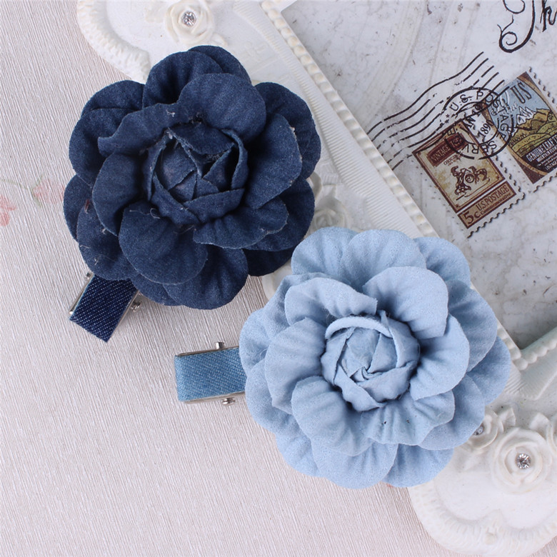 New style Baby Girls Hair Accessories Denim Flower Bow Crown Hair Clip Kids Children Hairpin halloween party zombie skull skeleton hand bone claw hairpin punk hair clip for women girl hair accessories headwear 1 pcs