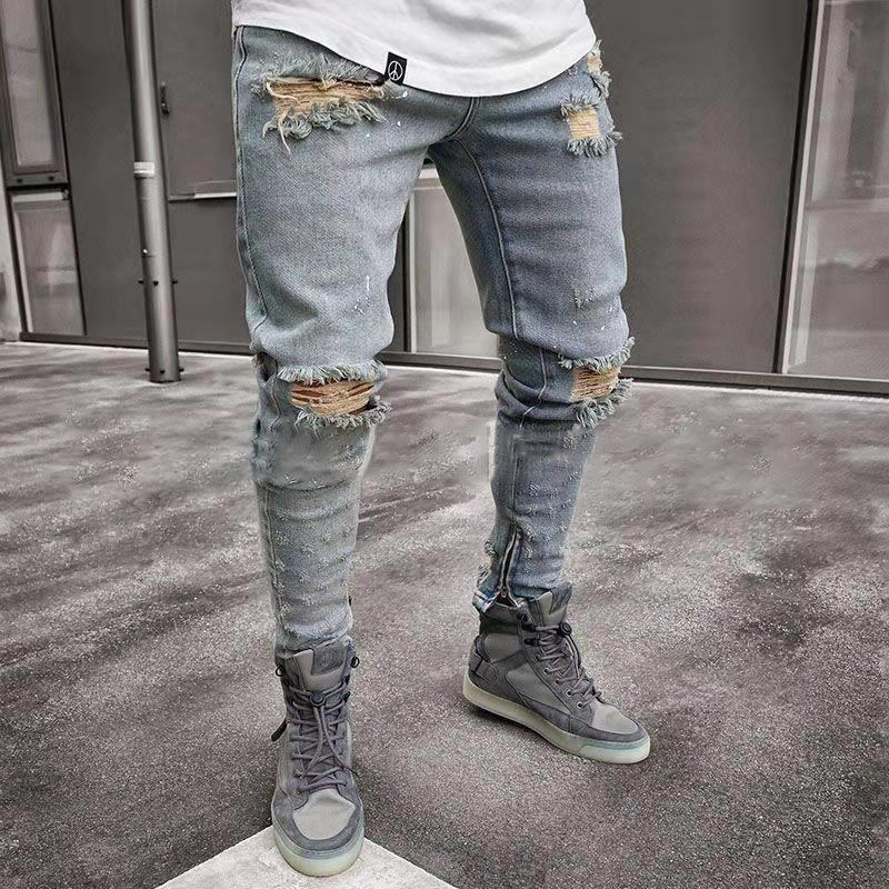 New  Jeans Men Spring MenClothes Denim Pants Distressed  Slim Fit Casual Trousers Stretch Ripped Jeans