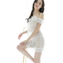 Womens Clothing Lace See Though Porn Night Dress Sexy Mini Night Gown Slash Neck Nightwear Female Baby Doll Sleepwear Black(China)