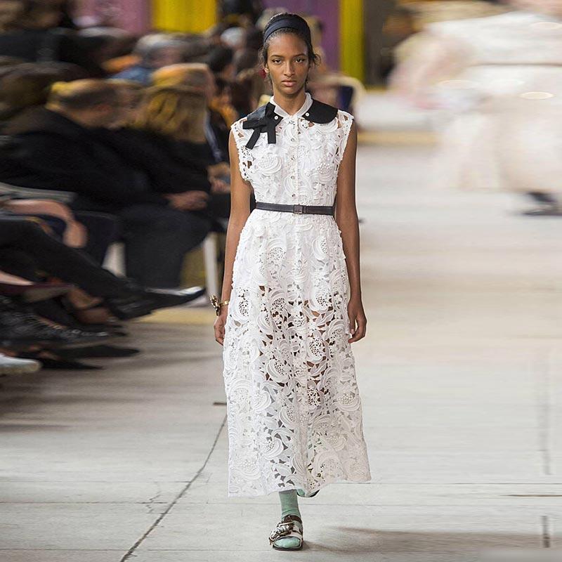 XF 2018 Fashion Designer Runway Summer Spring Dress Ladies Sleeveless Noble Queen Lapel Hollow Belt Slim Retro White Dress