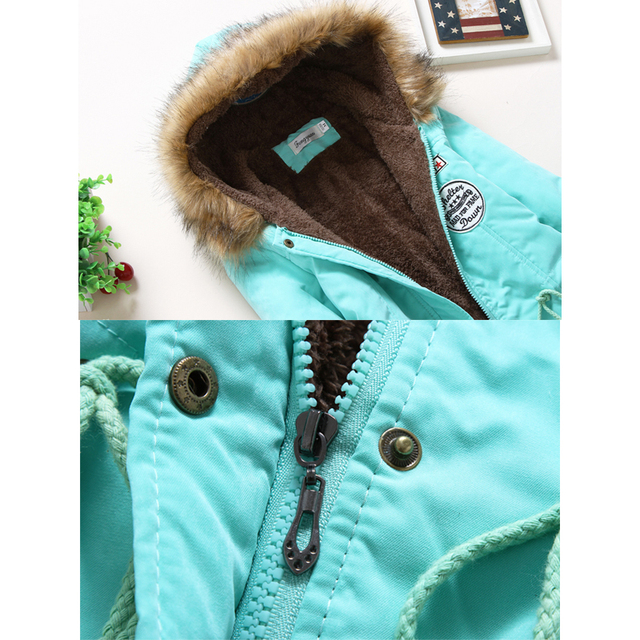 2017 veste d'hiver femmes ouatée veste femelle survêtement mince hiver à capuchon manteau long coton rembourré col de fourrure parkas plus la taille