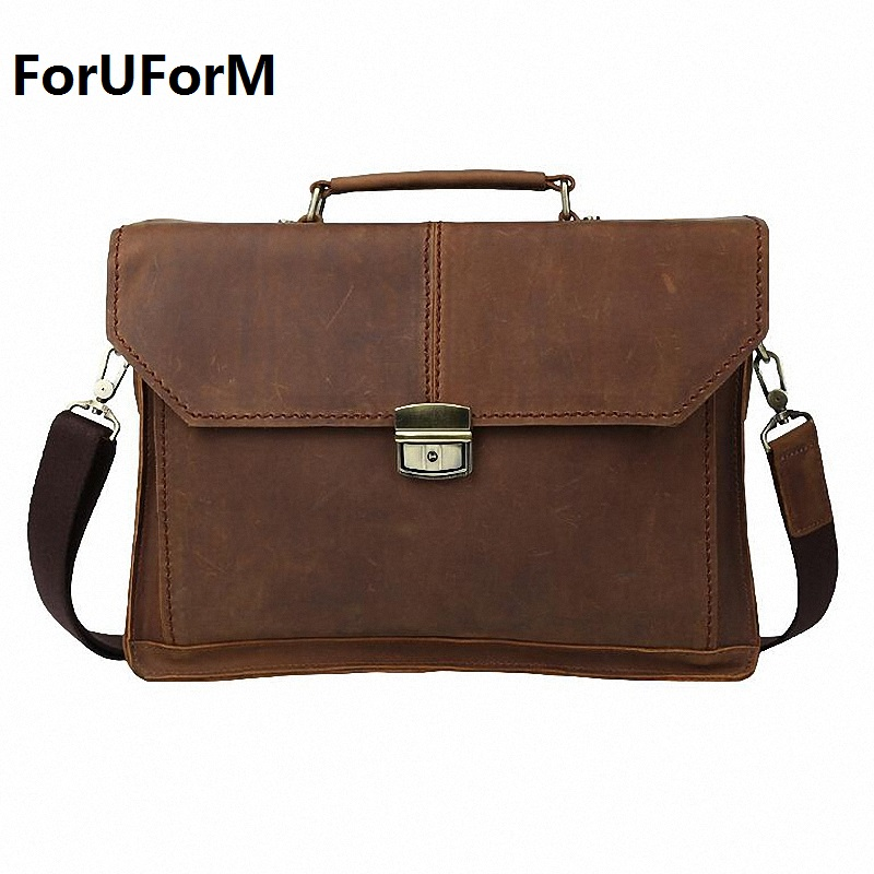 Guaranteed 100% crazy horse genuine leather 14inches laptop bags Men's Briefcase men messenger bags vintage Business bag LI-829 lexeb brand lawyer briefcase vintage crazy horse leather men laptop bag 15 inches high quality office bags 42cm length brown