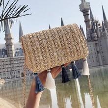 2018 Vintage Casual Woman Straw Crossbody Bag Ladies Small Shoulder Tassel Summer Beach Bag Flap Pu Leather Rattan Bag for Women curved straw flap bag