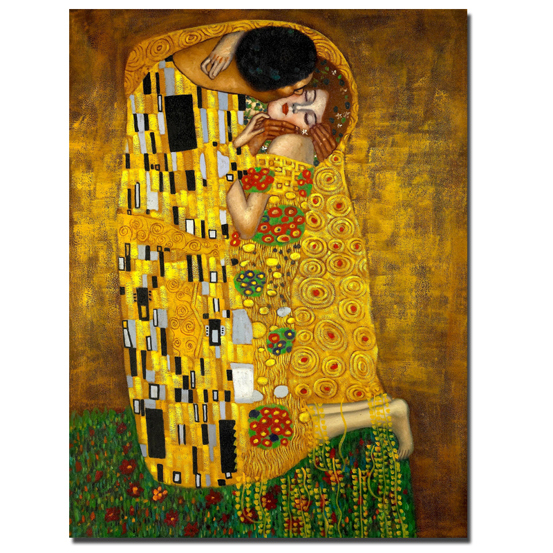 Hotsell gustav klimt kiss painting printed on canvas wall for Gustav klimt original paintings for sale