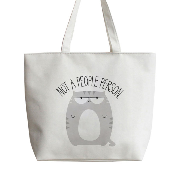 93c8ca0621 Not A People Person Fat cat Japanese Anime Canvas Tote bags Cartoon  Shopping bag school Grocery