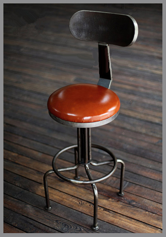 American Industrial Loft Retro Rotary Lift Chair High Back Leather Seat Leg Iron Bar Stool High Chair Bar Stool