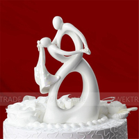 Cupcake Just Arrival Dancing Bride and Groom with Heart Couple Figurine Ceramic Wedding Cake Topper 14.5*9.5cm