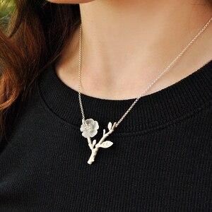 Image 4 - Collar con colgante de flor bajo la lluvia para mujer, joyería fina de diseño hecho a mano, Lotus Fun, Plata de Ley 925 auténtica
