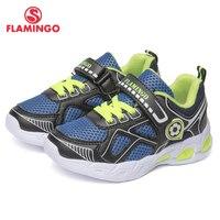Фламинго фирменные дышащие арки Hook & Loop TPR детей спортивная обувь Кожа Размеры 24 30 Детские Кроссовки для мальчика 91K KS 1234
