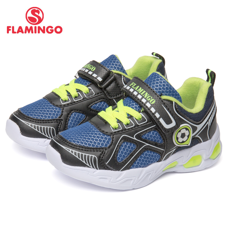 FLAMINGO Brand Breathable Arch Hook& Loop TPR Children Sport Shoes Leather Size 24-30 Kids Sneaker For Boy 91K-KS-1234