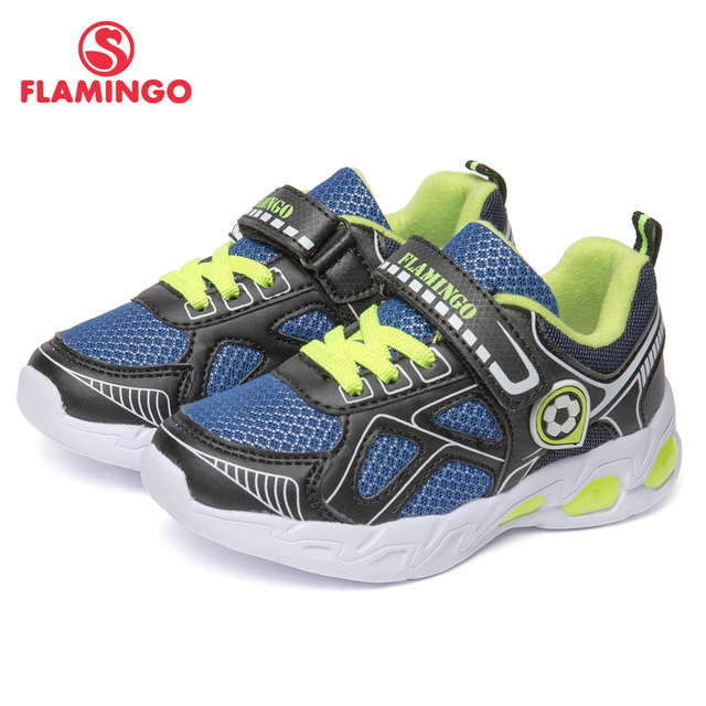 Фламинго фирменные дышащие арки Hook & Loop TPR детей спортивная обувь Кожа Размеры 24-30 Детские Кроссовки для мальчика 91K-KS-1234