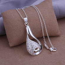 2015 new arrived 925 sterling silver fashion jewelry wonderful teardrop with stone pendant chains necklace wholesale promotion
