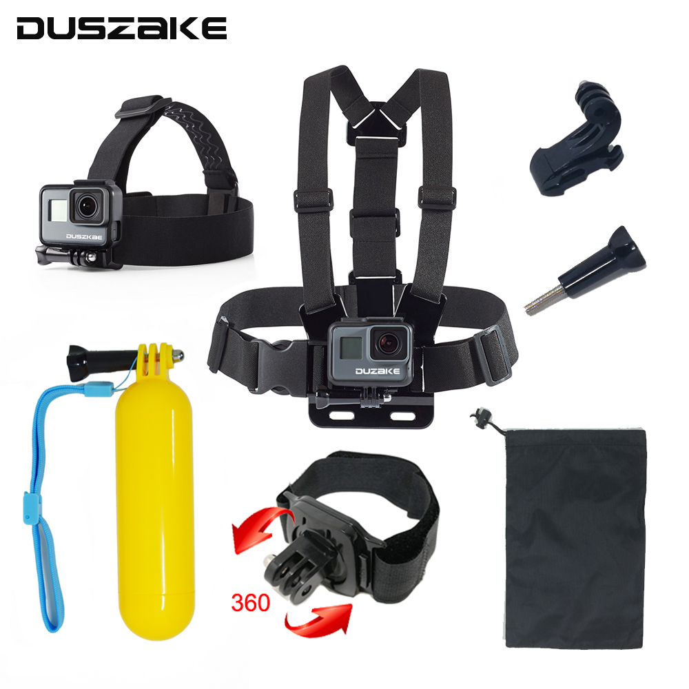 DUSZAKE DG10 Kit For Gopro Accessories For Go Pro Hero 6 Strap For Xiaomi Yi 4K Stick For Gopro Hero 5 Eken H9 Accessories Mount high precision cnc aluminum alloy lens strap ring for gopro hero 3 red