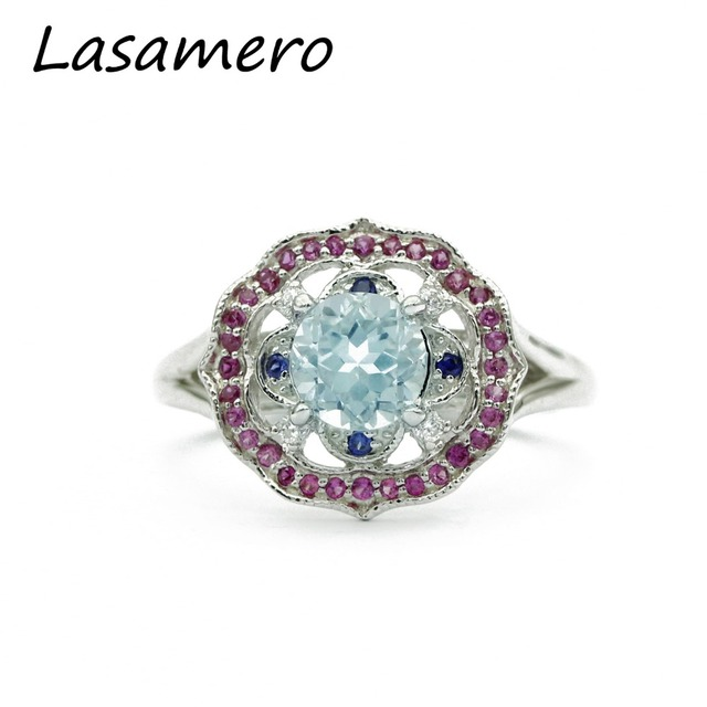 LASAMERO Rings for Women 0.85ct Round Cut Natural Sapphire Rings 925 Silver Engagement Wedding Rings
