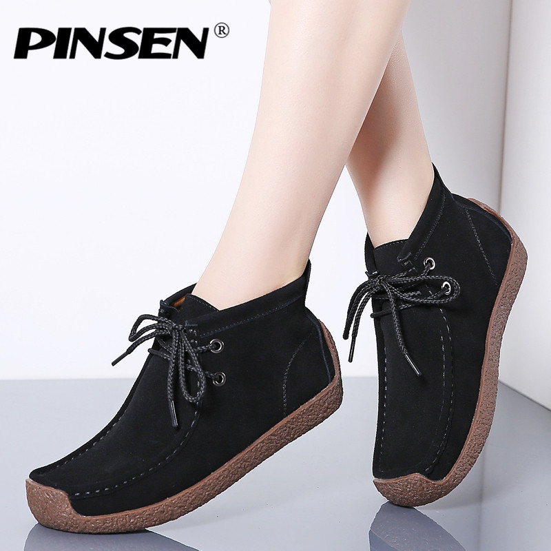 PINSEN 2019 New Women Boots Leather Suede Lace-up Snow Boots Women Winter Warm Plush With Fur Ankle Boots for Women Botas MujerPINSEN 2019 New Women Boots Leather Suede Lace-up Snow Boots Women Winter Warm Plush With Fur Ankle Boots for Women Botas Mujer