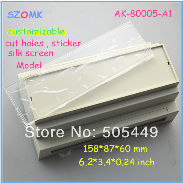 все цены на 4 pieces a lot  China plastic products manufacturer din rail module power amplifier case 158*87*60 mm  6.2*3.4*0.24 inch онлайн