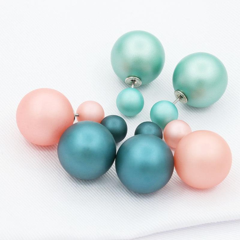 Double Pearl Earrings For Women Silver Double Side Big Ball Beads Stud Earring Piercing Statement Jewelry