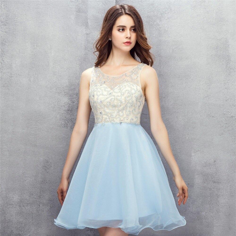 Sky Blue Short Prom Dresses 2018 Modest Beading Tulle Open Back Mini ...