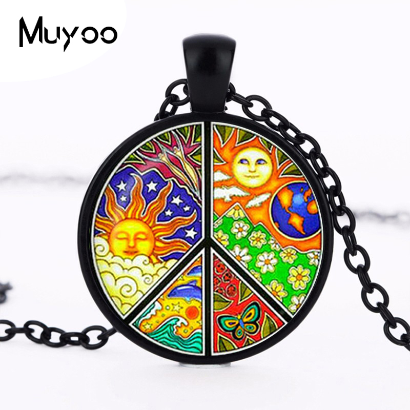 2017 new hot Fashion jewelry Sign Peace pendant Charm Hippie necklace Coloful Peace sign jewelry Women Accessories Sale HZ1