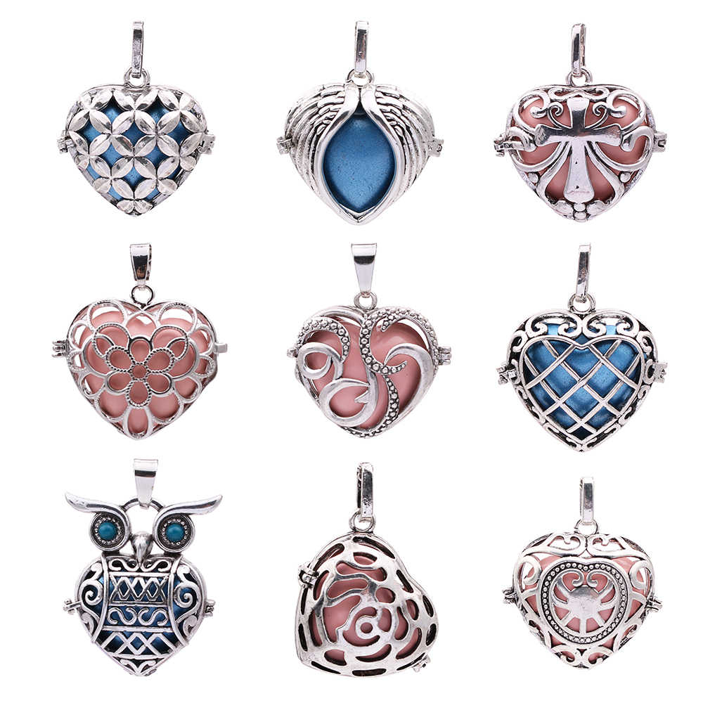 2pcs Heart Shape เปิด Diffuser สร้อยคอจี้โบราณ VINTAGE BEAD CAGE Lockets น้ำหอม Essential Oil AROMA DIY Locket Charms
