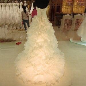 Image 2 - SL 7070 מכירה לוהטת תמונה אמיתית אורגנזה כלה שמלת מתוקה ראפלס בציר חתונה שמלה בתוספת גודל