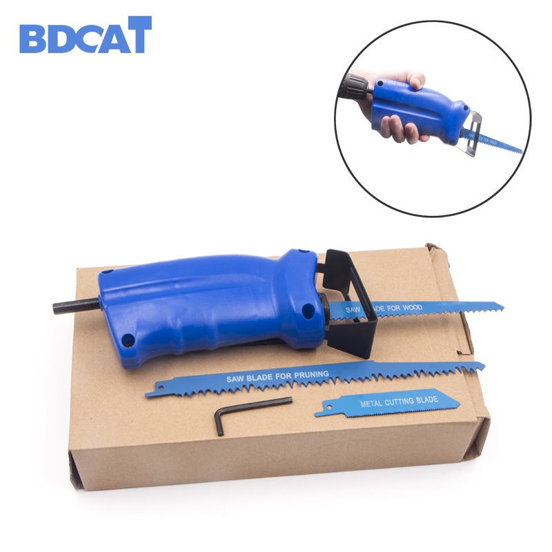 BDCAT Reciprocating Saw For Power Tool Accessories Metal Cutting Wood Cutting Tool Electric Drill Attachment With 3 Blades