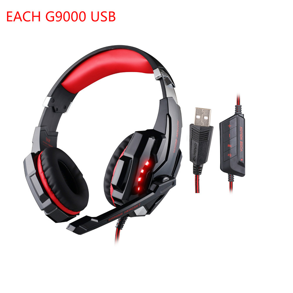 EACH G9000 USB Gaming Headphone Headband Game Earphone Microphone LED Light 7.1 Surround Sound Casque Headset for Fone PC Gamer moschino couture сандалии