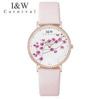 2018 карнавал смотреть Для женщин мода стразами платье розовые кожаные женские часы Роскошный изысканный Для женщин часы relogio feminino