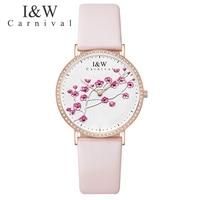 2018 CARNIVAL Watch Women Fashion Rhinestones Dress Pink Leather Ladies Watch Luxury Exquisite Women's Watches relogio feminino