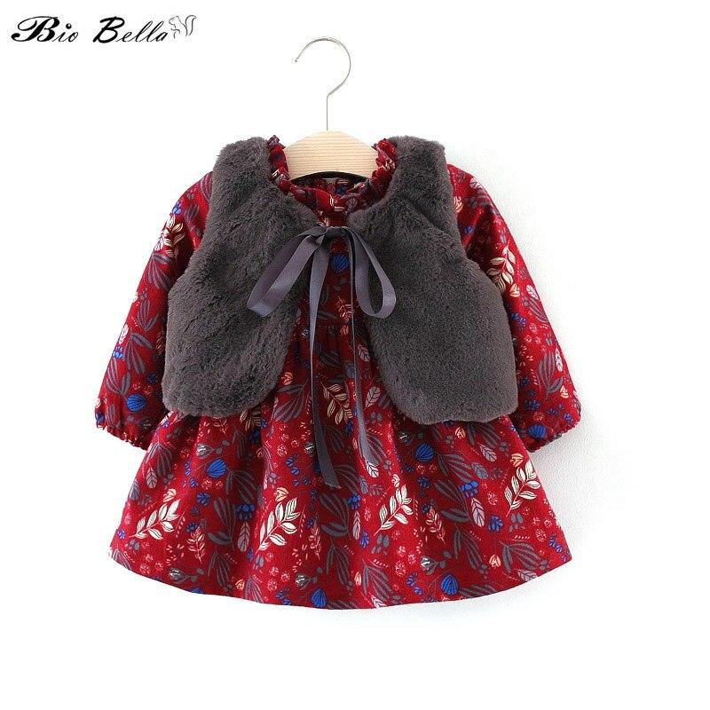 Fall Winter Kids Wear Brand Clothes New Baby Girls Long-sleeved Floral Plus Velvet Dress+Fur Vest 2Pcs Suit Girls Clothes Set