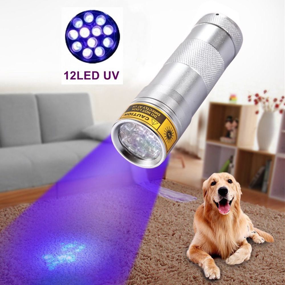Alonefire 12 LED lanternă Detector de urină 395nm rezistent la apă UV condus de iluminat lanterna lanterna lanterna negru lanterna pentru baterie AAA