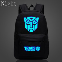 2017 New Fashion Transformers Bags Anime Printing Backpack For Teenagers Luminous Backpack Optimus Prime Mochila Gift Boy Girls