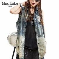 Max LuLu 2018 Yaz Lüks Kore Kızlar Punk Streetwear Kadın Kolsuz Denim Uzun Gömlek Kapalı Omuz Kadın Kot Bluz Tops