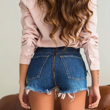 jeans short denim shorts for female Sexy High Waist New Back Zipper Hem Ripped Denim Party Club Hotpants Elastic Stretched Femme zipper up hem shredded jeans