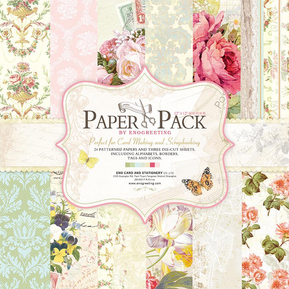 12 Inch 24 Sheets Paper Pack Floral Design DIY Photo Albums Scrapbook Paper For Scrapbooking Cardmaking Base Paper Collection