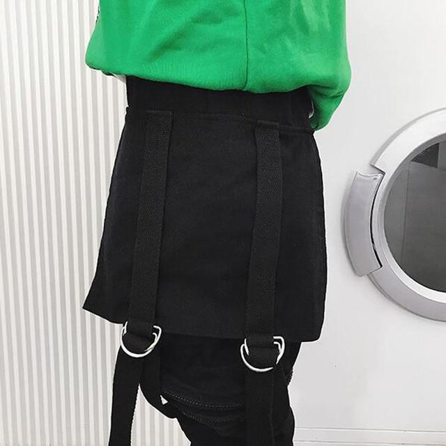 Japan ulzzang Style Pants men big pocket zipper loose casual harem pants baggy slacks trousers hip hop joggers male cross-pants 6