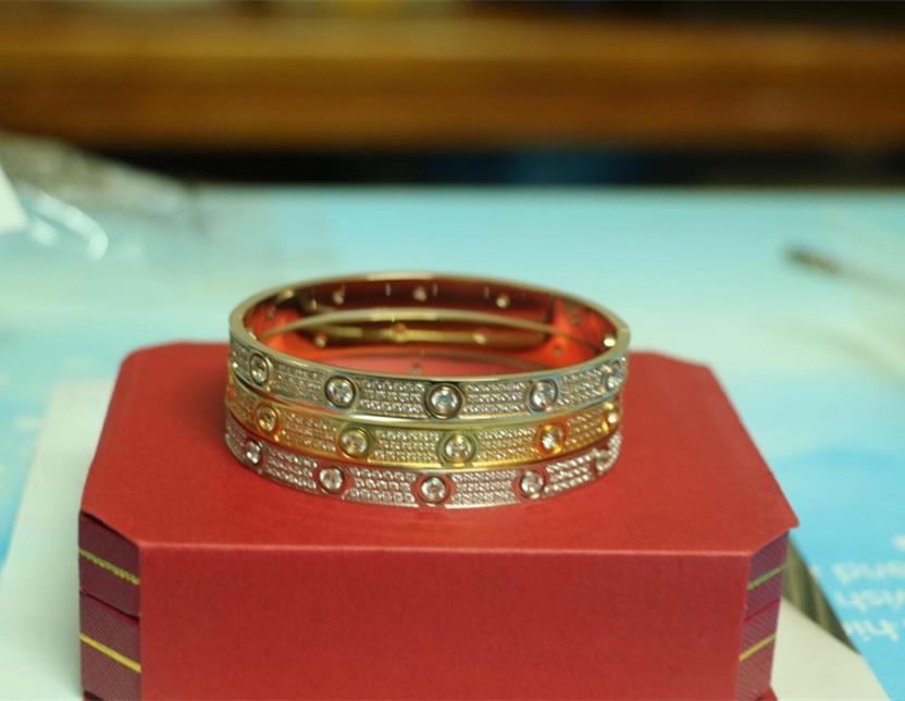 Classic full CZ stones carter bracelet love Bangles Screwdriver men women wedding stainless steel Pulseira feminina