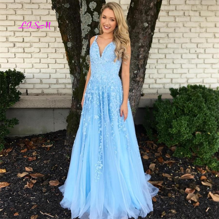 Elegant Blue Lace Appliques Long   Prom     Dresses   2019 Sexy V-Neck Sleeveless   Prom   Gowns A-Line Spaghetti Strap Vestidos De Gala