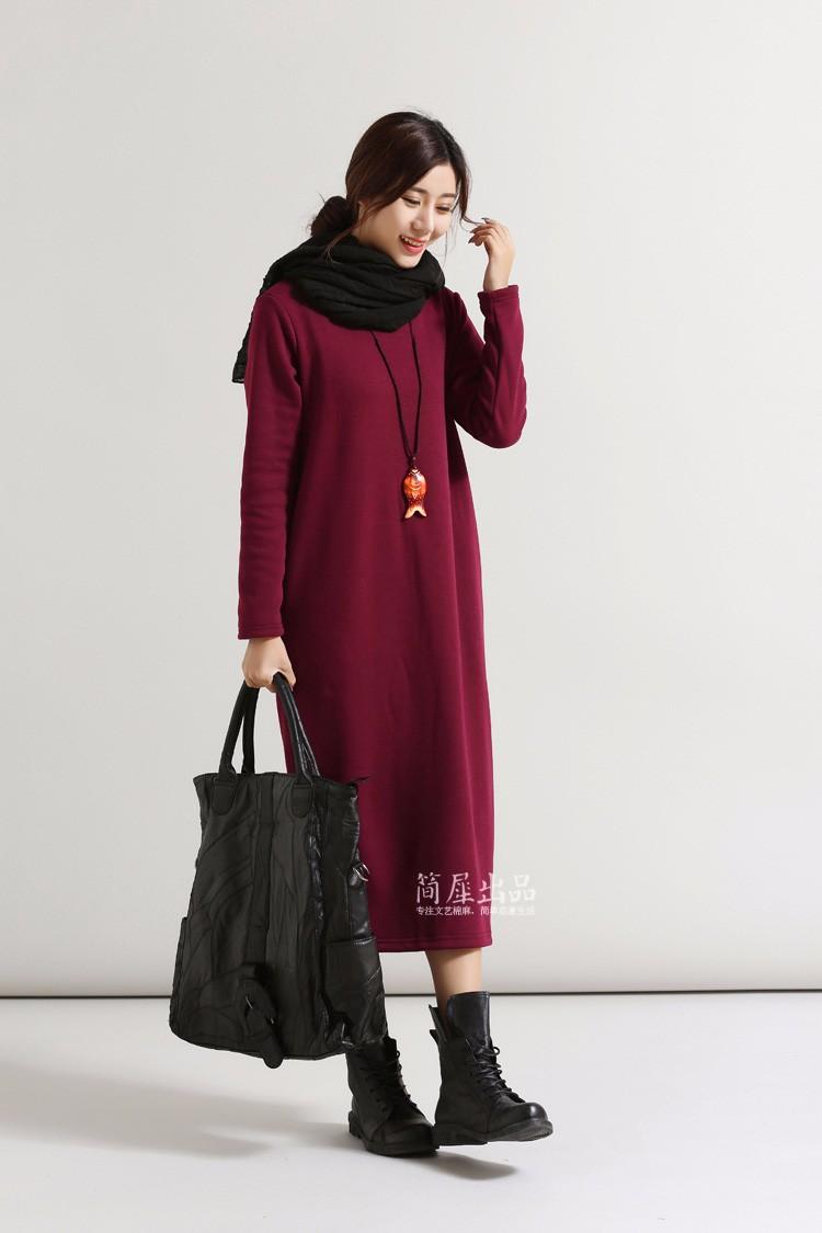SCUWLINEN Winter Dress 17 Vestido Women Dress Plus Size Velvet Thickening Thermal Basic Dress Long Sleeve Solid Warm Dress S59 4