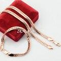1 Set Man Woman 6mm Real Rose Gold Filled Set Jewelry Bracelet Herringbone Snake Chain Set Mufti Optional