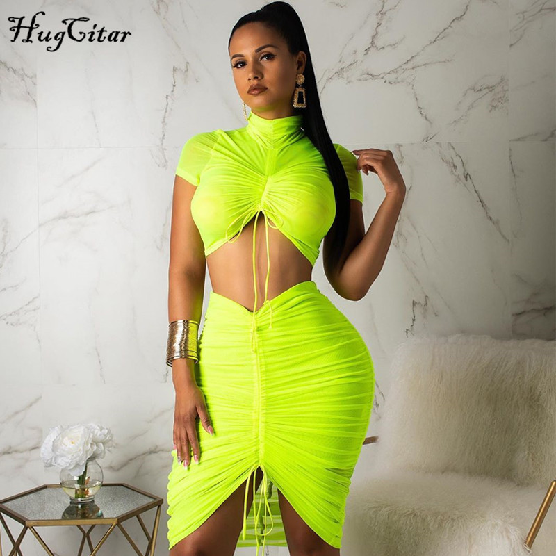 Hugcitar Pleated Neon Green Mesh See-through Sexy Set 2019 Women Fashion Short Sleeve Crop Tops T Shirt Skirt 2 Two Piece Set Pa
