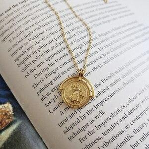 Image 1 - LouLeur 925 srebro złoty kolor Roman Disk Chokers naszyjnik Femme medalion moneta naszyjnik dla kobiet biżuterii