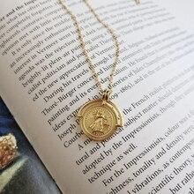 قلادة نسائية من LouLeur موديل 925 مصنوعة من الفضة الإسترليني لون ذهبي وقرص روماني قلادة بها ميدالية نسائية عقد بعملة معدنية للسيدات مجوهرات راقية