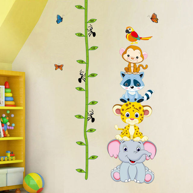new animals monkey zoo height chart removable wall stickers art