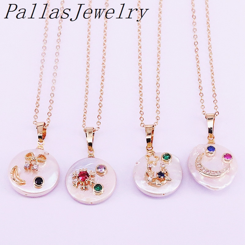 8Pcs New fashion freshwater pearl and delicate zircon micro pave coin shape Charms Pendant Necklace