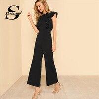 Sheinside Black Ruffle Jumpsuit Women Round Neck Sleeveless Summer Jumpsuit 2018 Office Work Wear Elegant Wide