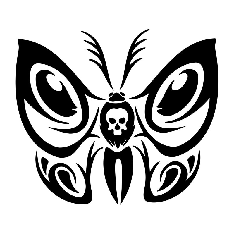 20 4 17 7cm Personalized Butterfly Tribal Skull Car Stickers Reflective Waterproof Vinyl Decals