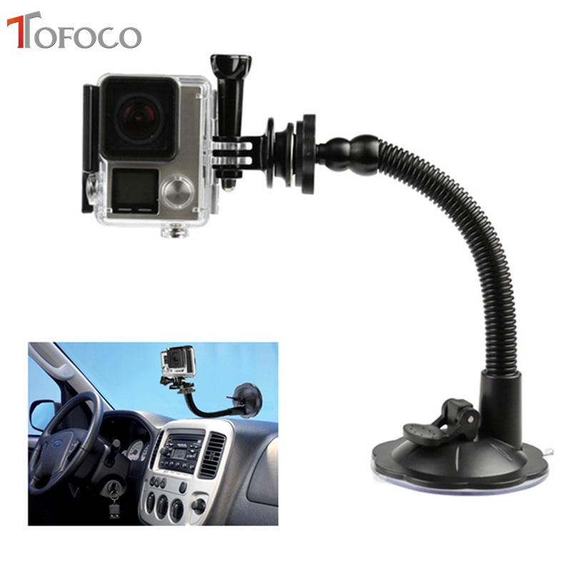 TOFOCO Sucker Holder Bøjelig Automobil Vehicle Suction Cup Bracket Fleksibel Justering Bracket For Gopro Hero 4/3