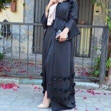 Fashion floral Front open muslim dress with belt white abaya dubai robe muslim djelaba femme white open front floral print cardigans
