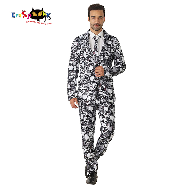 Eraspooky Black Skull Halloween Costume For Adult Men's Suit Skeleton Print Funny Cosplay Gentleman Blazer Outfit Carnival Party